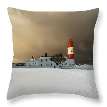A Lighthouse And Building In Winter Throw Pillow by John Short