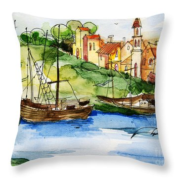 A Little Fisherman's Village Throw Pillow