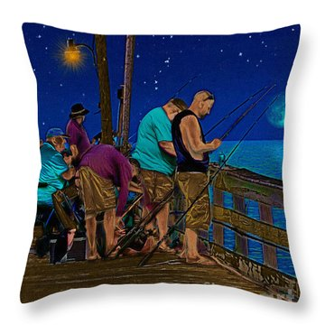 A Little Night Fishing At The Rodanthe Pier Throw Pillow by Anne Kitzman