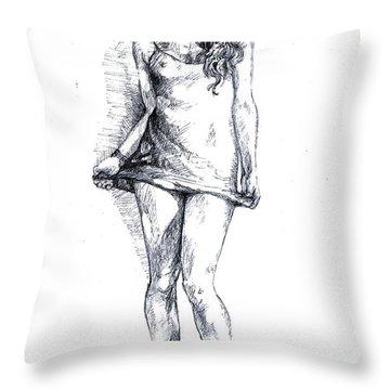 A Little Teasing  Throw Pillow by Alban Dizdari
