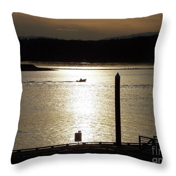 A Lone Boat At Sunset Throw Pillow
