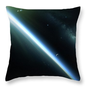 A Lone Satellite Drifts Silently Throw Pillow by Kevin Lafin