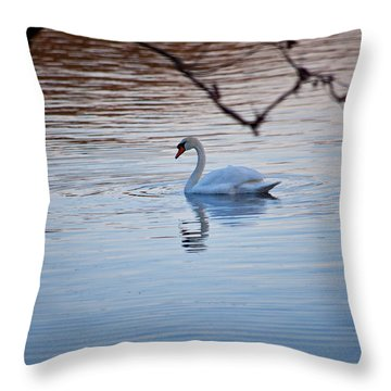 A Lonely Swans Late Afternoon Throw Pillow by Karol Livote
