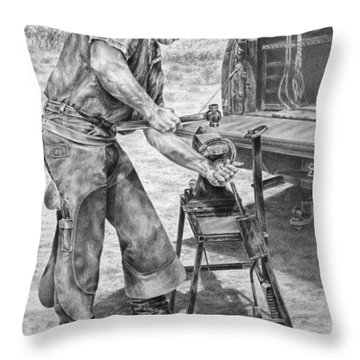 A Man And His Trade - Farrier Art Print Throw Pillow