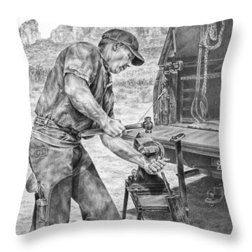 A Man And His Trade - Farrier Art Print Throw Pillow by Kelli Swan