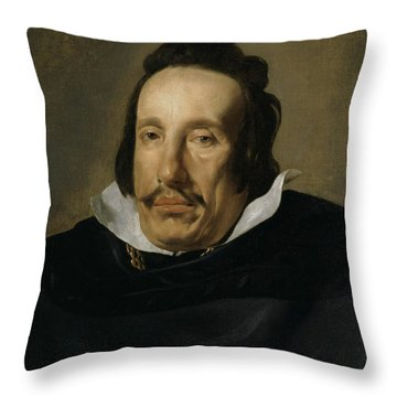 A Man Throw Pillow by Diego Rodriguez de Silva y Velazquez