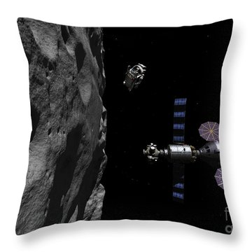 A Manned Maneuvering Vehicle Descends Throw Pillow by Walter Myers