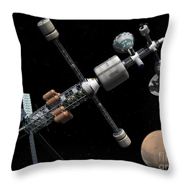 A Manned Mars Cycler Space Station Throw Pillow by Walter Myers