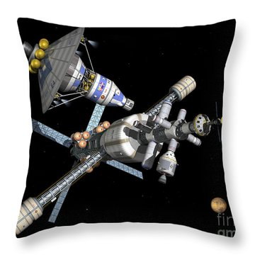 A Manned Mars Landerreturn Vehicle Throw Pillow by Walter Myers