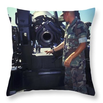 A Marine Instructs How To Pen Throw Pillow by Michael Wood