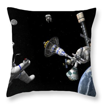 A Mars Cycler Travels By The Earth Throw Pillow by Walter Myers