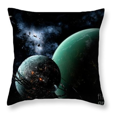 A Massive Space Station Orbits A Large Throw Pillow by Brian Christensen