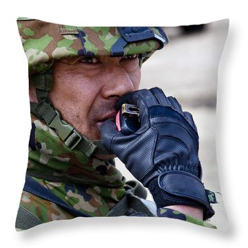 A Member Of The Japan Ground Throw Pillow by Stocktrek Images