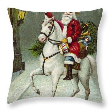 A Merry Christmas Card Of Santa Riding A White Horse Throw Pillow
