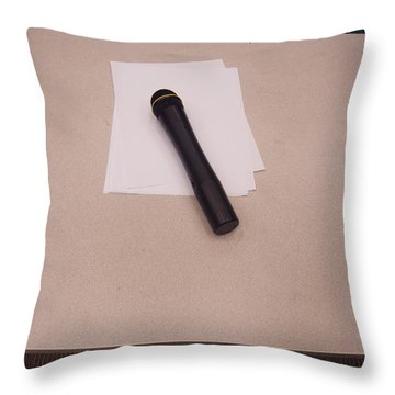 Throw Pillow featuring the photograph A Microphone On The Lectern Of A Presentation Room by Ashish Agarwal