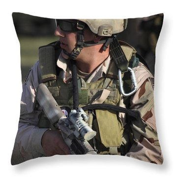 A Military Reserve Navy Seal Kneels Throw Pillow by Michael Wood