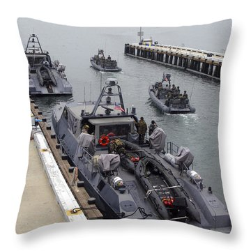 A Mk-v Special Operations Craft Tied Throw Pillow by Michael Wood