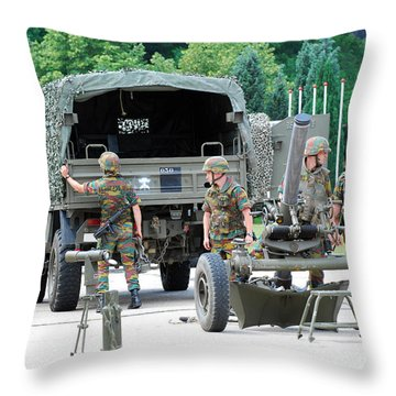 A Mortar Section Of The Belgian Army Throw Pillow by Luc De Jaeger