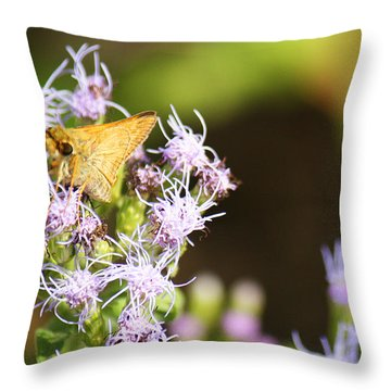 A Moth Of Gold Throw Pillow by Roena King