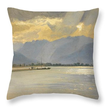 A Mountain Landscape Throw Pillow by Unknown