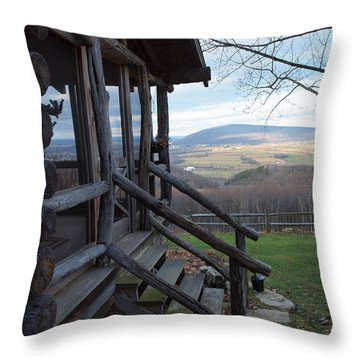 A Mountain View Throw Pillow by Robert Margetts