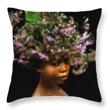 Throw Pillow featuring the painting A Murzi Maiden by Jann Paxton