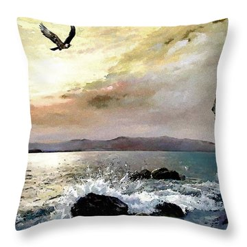 Throw Pillow featuring the painting A New Day by Jann Paxton