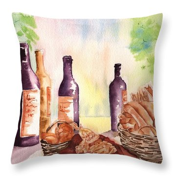 A Nice Bread And Wine Selection Throw Pillow by Sharon Mick