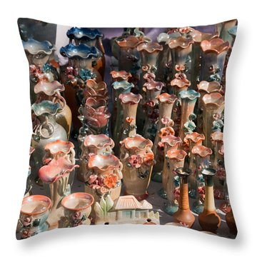 Throw Pillow featuring the photograph A Number Of Clay Vases And Figurines At The Surajkund Mela by Ashish Agarwal