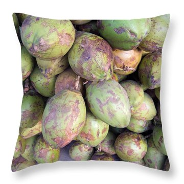 Throw Pillow featuring the photograph A Number Of Tender Raw Coconuts In A Pile by Ashish Agarwal