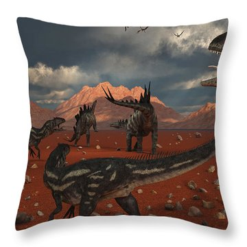 A Pack Of Allosaurus Dinosaurs Track Throw Pillow by Mark Stevenson