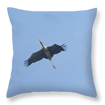 A Painted Stork Flying High In The Sky Throw Pillow by Ashish Agarwal