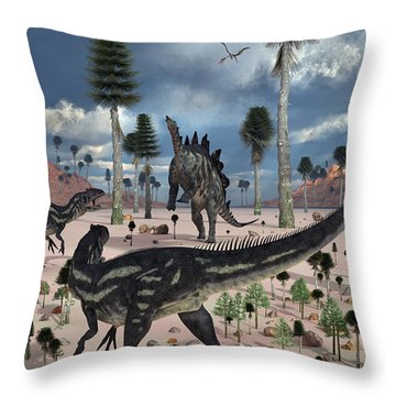 A Pair Of Allosaurus Dinosaurs Confront Throw Pillow by Mark Stevenson