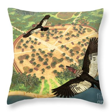 A Pair Of Andean Condors Fly Over An Throw Pillow by Walter Myers