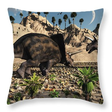A Pair Of Torosaurus Dinosaurs Fight Throw Pillow by Mark Stevenson