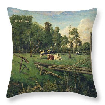 A Pasture In Normandy Throw Pillow