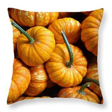 A Peck Of Pumpkins Throw Pillow by Kami McKeon