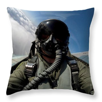 A Pilot In The Cockpit Of An F-16 Throw Pillow by Stocktrek Images