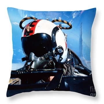 A Pilot Sitting In The Back Throw Pillow by Dave Baranek