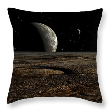 A Planet And Its Moon Are Dimly Lit Throw Pillow