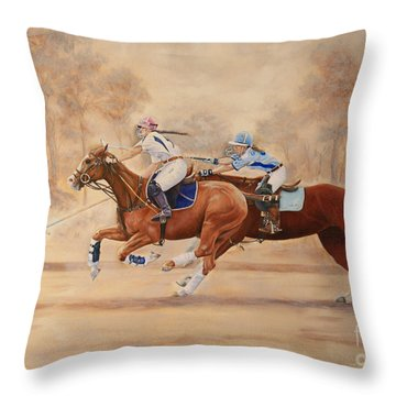 A Polo Match Throw Pillow by Roena King