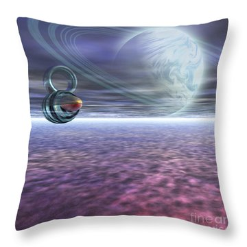 A Probe From Earth Is Sent To Jupiter Throw Pillow by Corey Ford