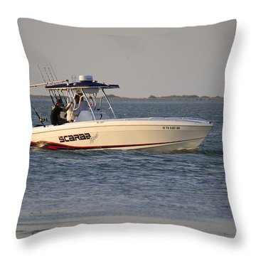 A Proper Fishing Boat Throw Pillow by Roena King