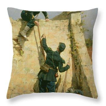 A Quick Escape Throw Pillow by Etienne Prosper Berne-Bellecour