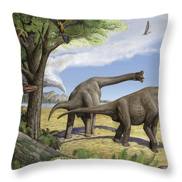 A Raptor Stalks A Pair Of Grazing Throw Pillow by Sergey Krasovskiy