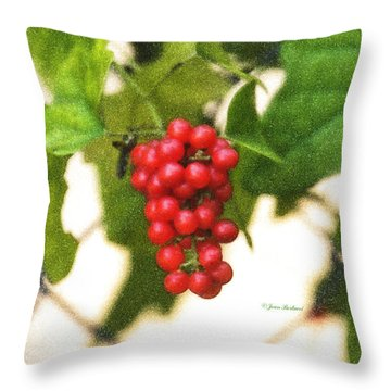 Throw Pillow featuring the photograph A Red Cluster by Joan Bertucci