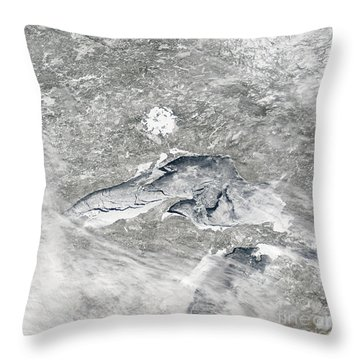 A Relatively Rare Blanket Of Ice Rests Throw Pillow by Stocktrek Images
