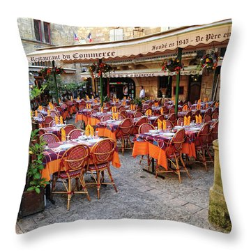 A Restaurant In Sarlat France Throw Pillow by Dave Mills