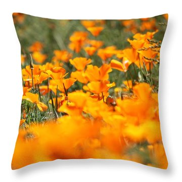 A River Of Poppies  Throw Pillow