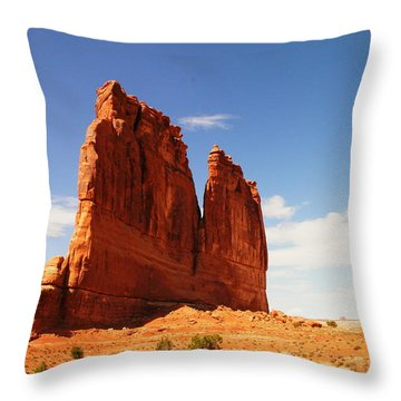 A Rock At Arches Throw Pillow by Jeff Swan